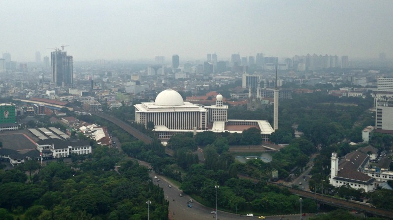The Grand Mosque: Istiqlal Mosque from the observation deck of the National Monument