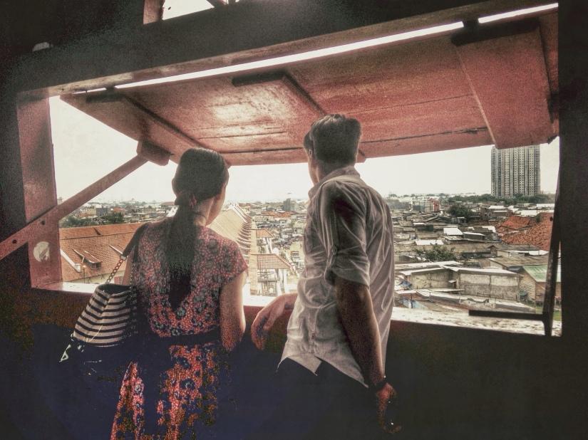 Imelda and Geoffroy in the observation deck in Menara Syahbandar
