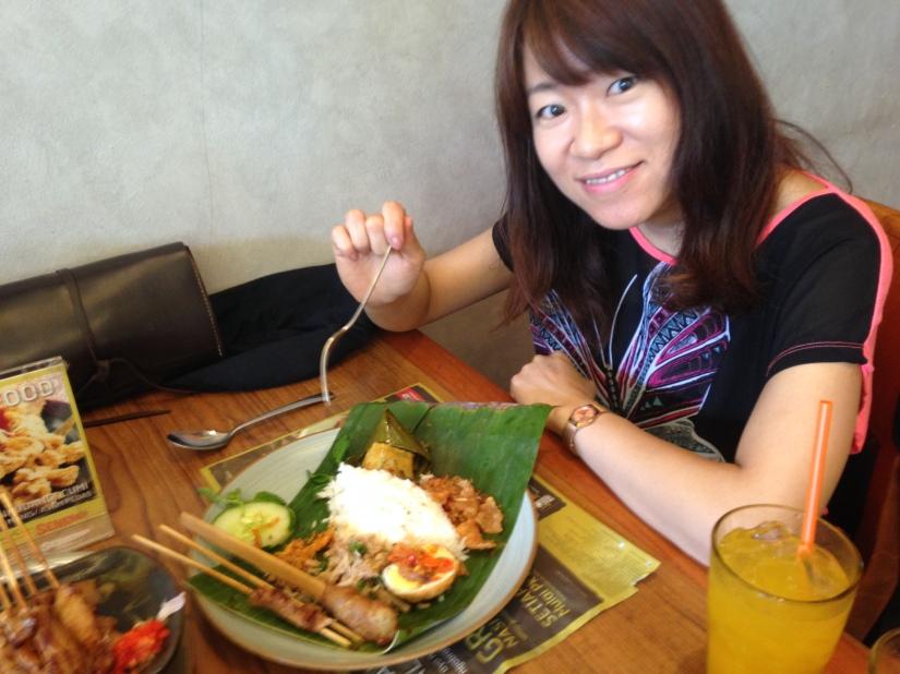 Naomi and her lunch, Nasi Bali.