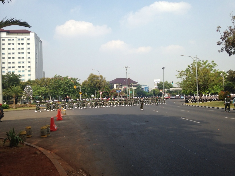 The army marched in to the presidential palace to do a rehearsal for inauguration ceremony the following Monday.