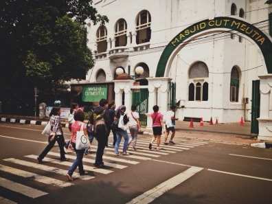 Not Abbey Road, just us crossing to the last spot of the Jakarta Walking Tour - Menteng.
