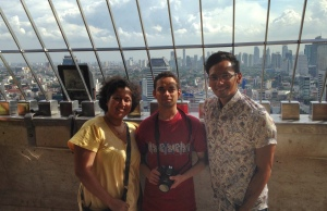 Dipti & Amoud in the observation deck of the National Monument with Jakarta's skyline as our background.