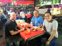 JJ Disini with his friends on Jl. Sabang, a street known for its food stalls, during our Jakarta Walking Tour : Street Food & City Center. This is a special request Walking Tour. Interesting!