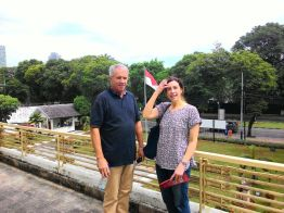 Edwina and her father on the balcony of Museum of Declaration of Independence when they joined our Jakarta Walking Tour : Menteng.
