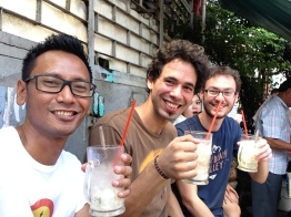 Madani & Bertand (France) with our guide, Farid enjoying a glass of Es Kelapa Muda during their walk. Refreshing!