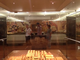 Ana, Yael, and Ayus inside the Gold room in Museum Bank Indonesia in Old Town area. Are they real gold? Join us and find it yourself!