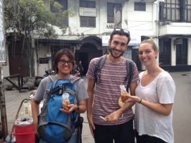 "One of the perks of doing a walking tour is...you get to try the local street food! Ayus, Yael, and Ana tried our famous ""tahu gejrot"", it's fried tofu dipped in sour sauce."