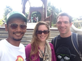Nicole, Will, and Farid (our guide) in front of Jakarta Dutch Drawbridge in Old Town area. Cover your nose!