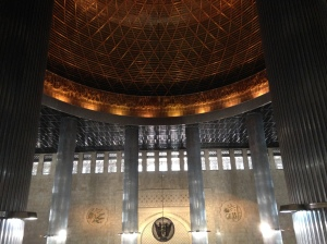 The dome inside the Istiqlal mosque is a magnificent work of art.