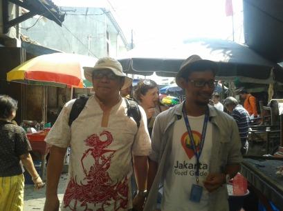 Walking on a narrow street in Jakarta's Chinatown