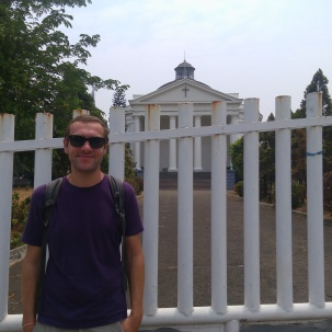 Guillaume from Paris, France is posing in front of Immanuel Church as we end the walking tour - city centre.