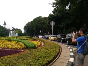 One of our participants, Tiomothy, taking a picture of Diponegoro park and the tip of Paulus church, one of the old churches in Jakarta.